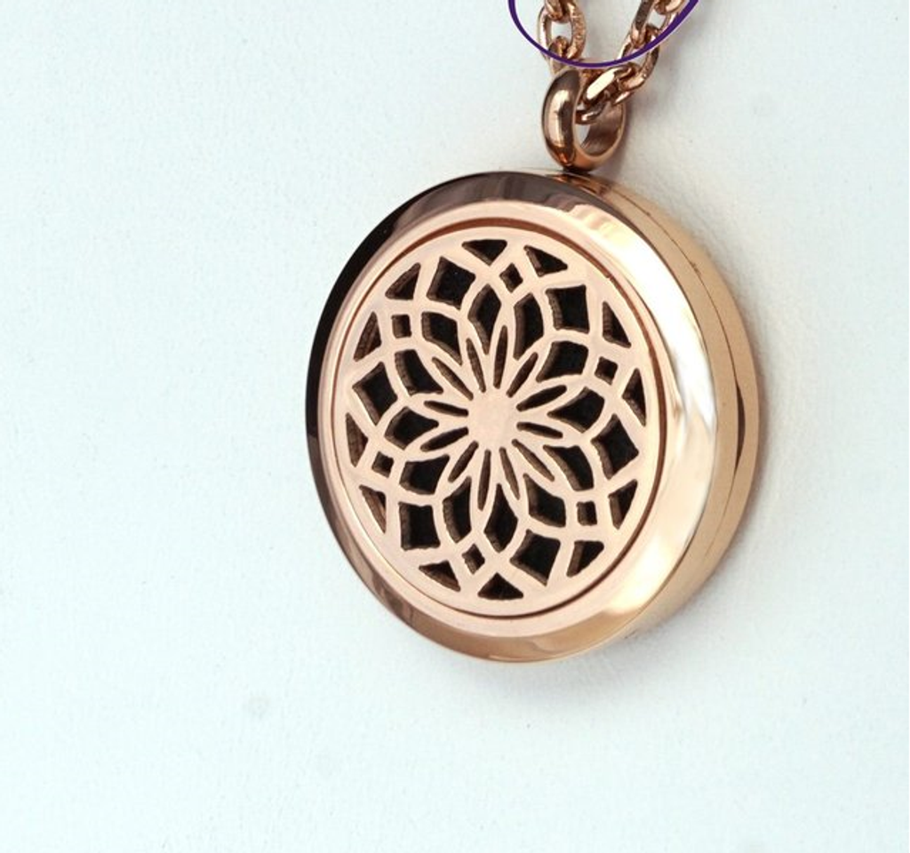 Diffusing Necklace Rose Gold Lotus Flower Jodi Baglien