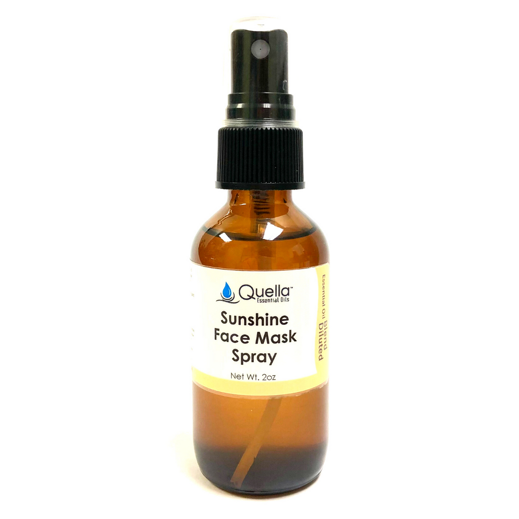 Sunshine Face Mask Spray - 2oz amber brown glass bottle with spray top cap