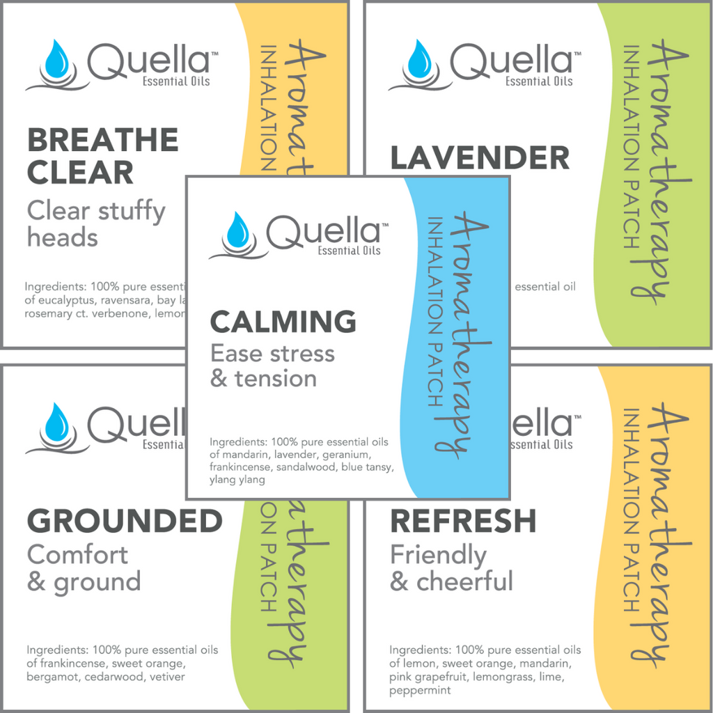 Different patches included in the 25 Pack Variety: Breathe Clear, Lavender, Calming, Grounded, Refresh.