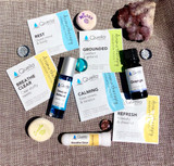 Care Kit: 1 Rest Aromatherapy Patch 1 Grounded Aromatherapy Patch 1 Calming Aromatherapy Patch 1 Refresh Aromatherapy Patch 1 Breathe Clear Aromatherapy Patch 1 Breathe Clear Aroma Stick 1 10ml Bottle of Orange Essential Oil 1 10ml Roll-On Bottle of Tension Release