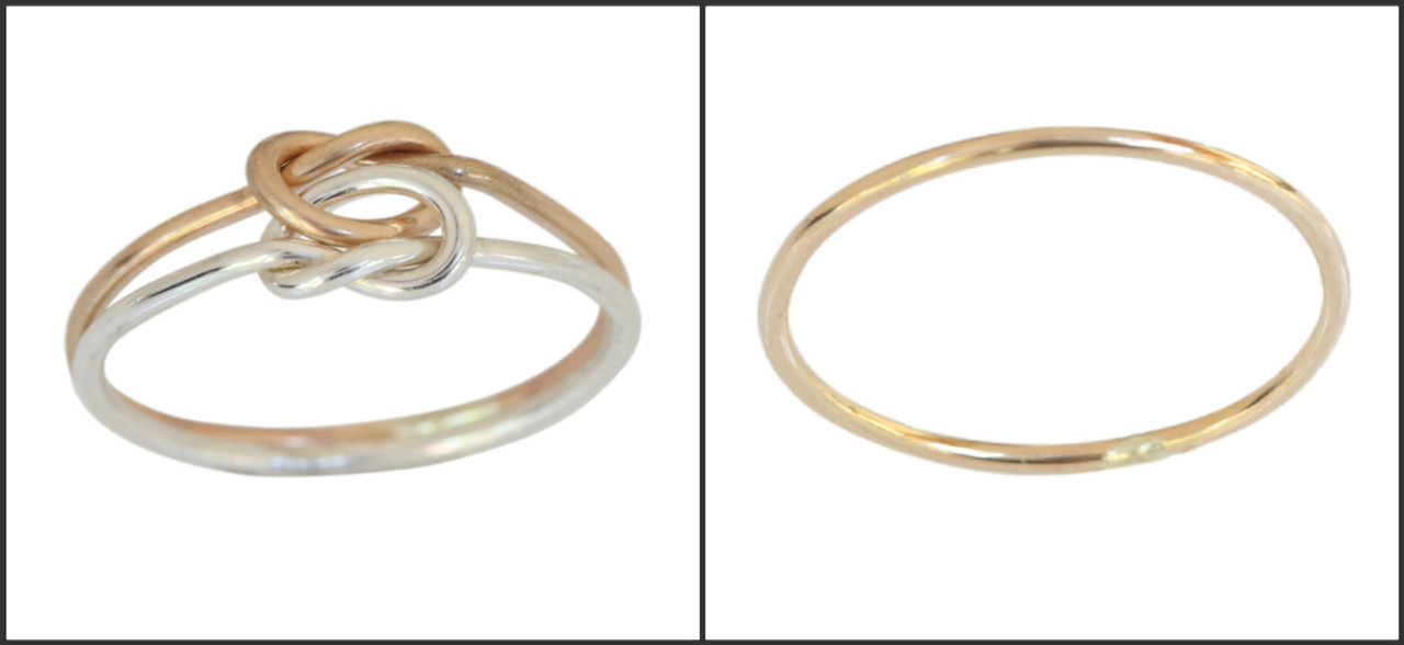 gold live knot and 1mm plain band thin toe ring