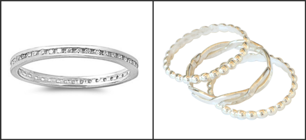 sterling silver clear crystal eternity to ring and stacked multiple toe rings