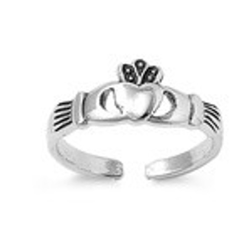 Sterling silver claddagh adjustable toe ring