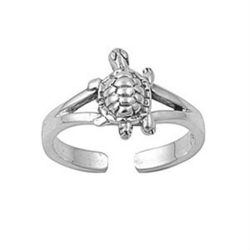Sterling silver turtle adjustable toe ring