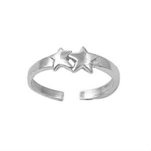 Sterling silver double stars adjustable toe ring