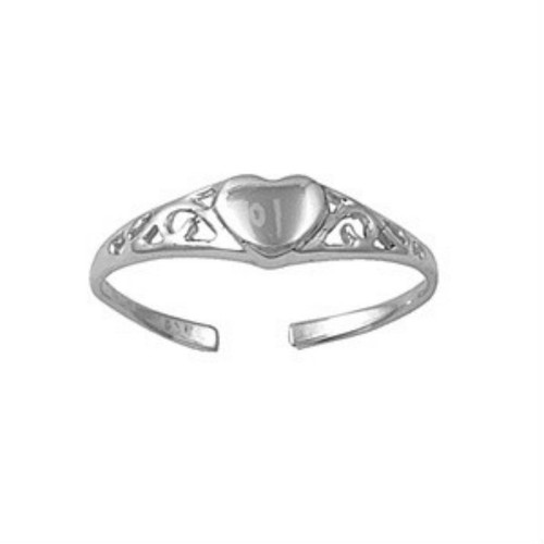 Sterling silver single heart adjustable toe ring