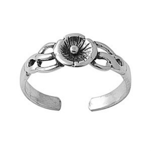 Sterling silver plumeria adjustable toe ring