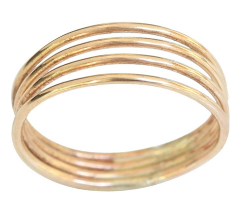 14k gold mix with sterling silver four band toe ring, midi ring