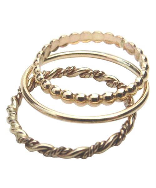 14k gold trio stacked toe rings, midi rings