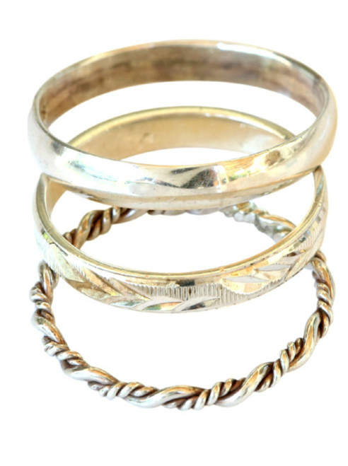 Sterling silver trio stacked toe rings