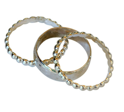 Sterling silver faceted bead bands trio stacked toe rings, midi rings