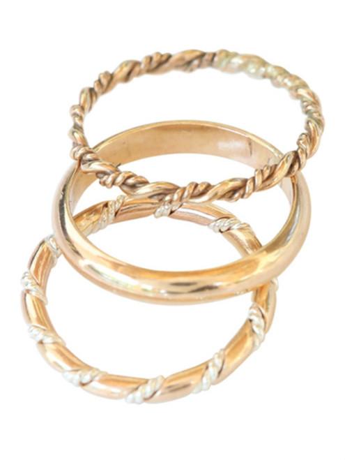 14k gold trio braid twist stacked toe rings, midi rings
