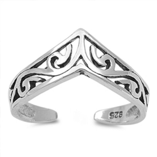 Sterling Silver Chevron adjustable toe ring