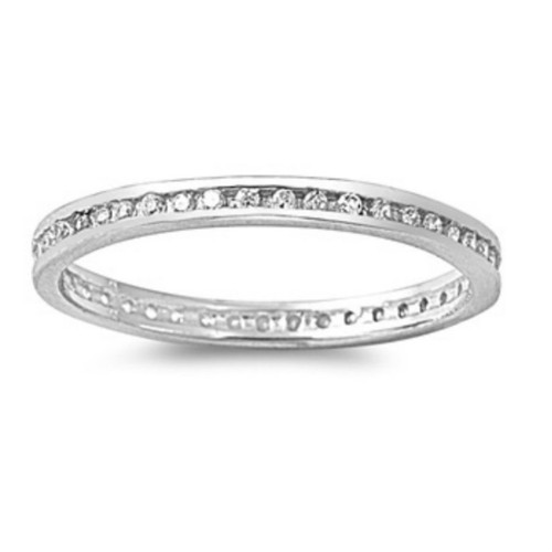 Sterling Silver Clear Crystal Eternity Toe Ring