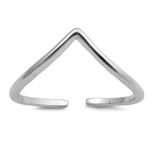Toe Ring | Sterling Silver Thin Chevron Adjustable Toe Ring