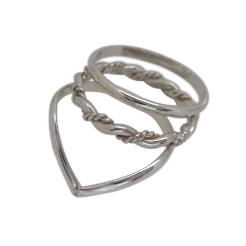 Sterling Silver Toe Ring Chevron Toe Ring Trio stacked Toe rings