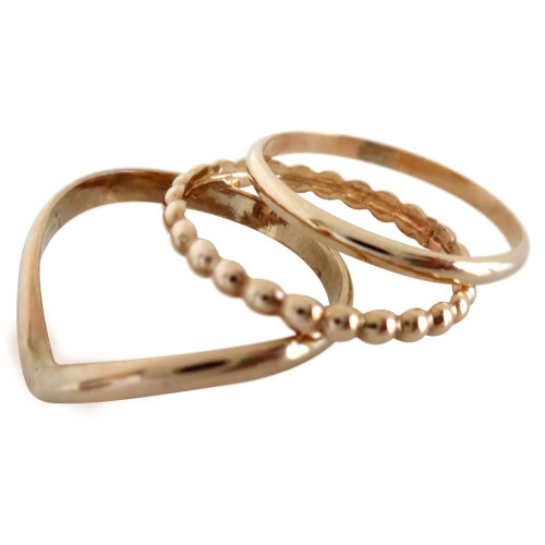 Gold Toe Rings | Gold Trio Toe Ring | Stacked Toe Rings | Chevron Toe Rings