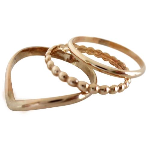 Gold Toe Rings | Gold Trio Toe Ring | Stacked Toe Rings | Chevron Toe Rings