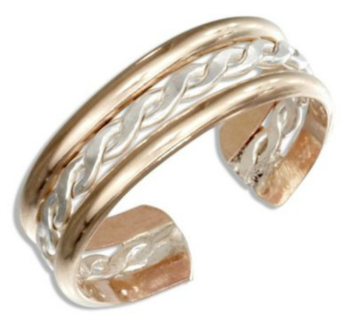 14k Gold Filled and sterling silver braid mix adjustable toe ring