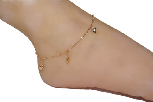 Dangling heart anklet made of 14k gold filled