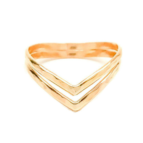 Gold Chevron Thumb Ring, Double Chevron Thumb Ring for Women