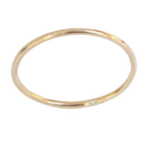 14k gold thin plain band toe ring, midi ring