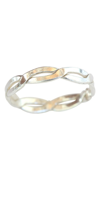 Sterling silver thick braid band toe ring