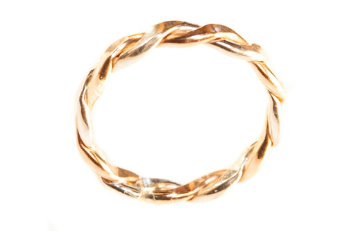 14k gold thick braided toe ring