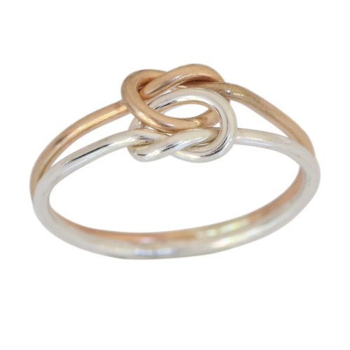 14k gold and sterling silver double love knot toe ring
