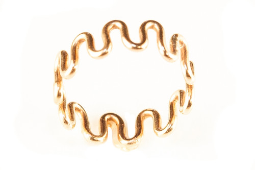 14k gold zig zag wave toe ring