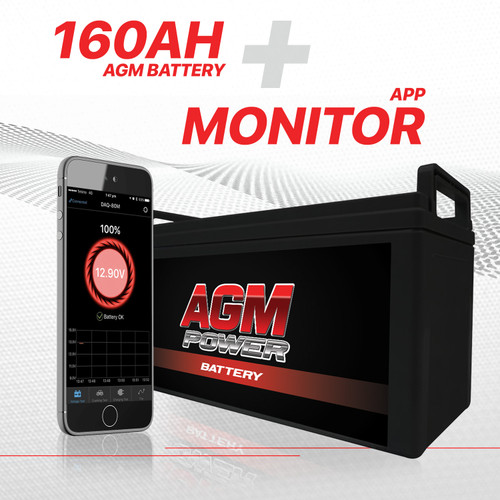 12V 160Ah AGM Battery Monitor Deep Cycle Sealed Rechargeable bms volt