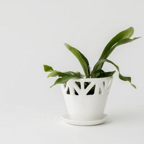 Ivory Structured Tabletop Planter