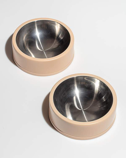 Stainless Steel Dog Bowl in Tan