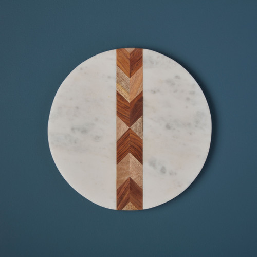 Marble + Wood Mosaic Round Board