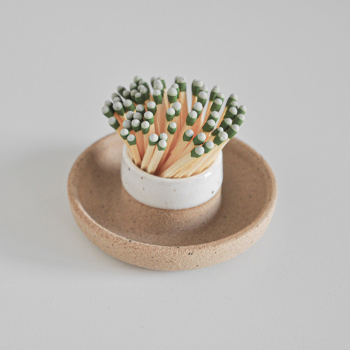 Speckled Stoneware Match Striker with Tray