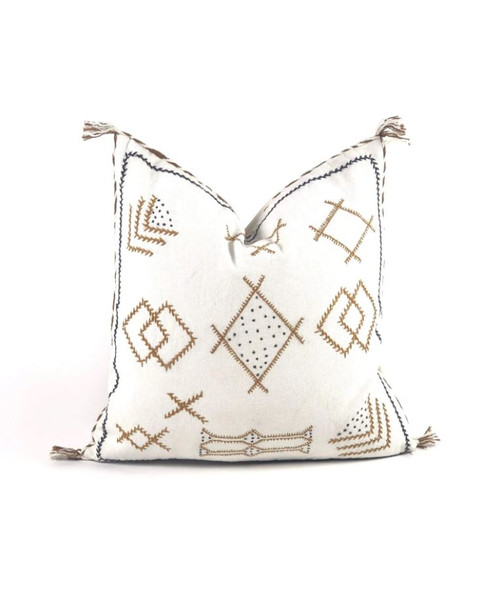 White Embroidered Throw Pillow