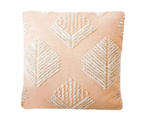 Blush Embroidered Leaf Pillow
