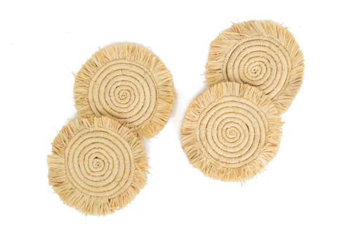Natural Fringe Coaster Set