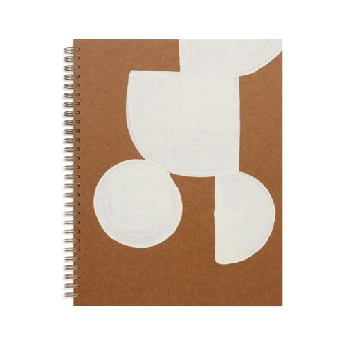 White Shapes Kraft Painted Notebook