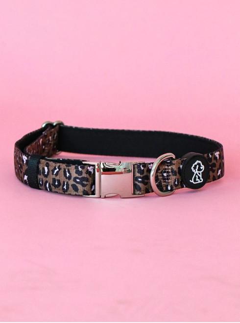Chocolate Leopard Comfort Dog Collar