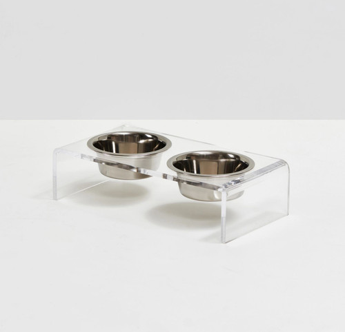 S Clear Elevated Pet Feeder