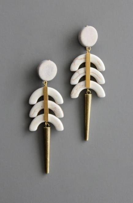 Brass, Wood + Gemstone Magnesite Earring