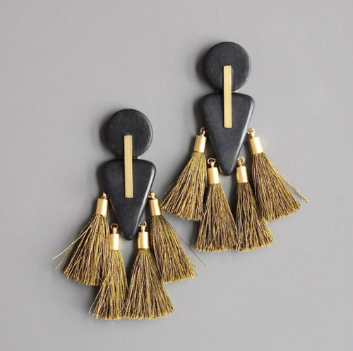 Wood, Magnesite + Brass Earring with Olive Tassels