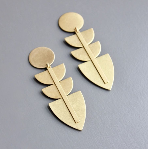 Brass Geometric Shield Earring