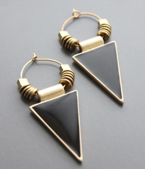 Enamel + Brass Triangle Earring
