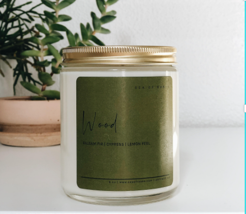 Wood Scent Coconut + Soy Wax Candle