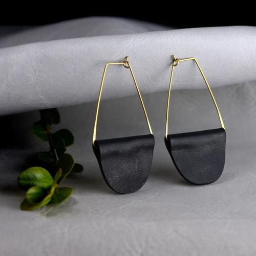 Boho Hoop Black Leather Earrings