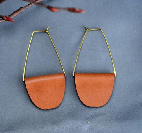 Boho Hoop Cognac Leather Earrings