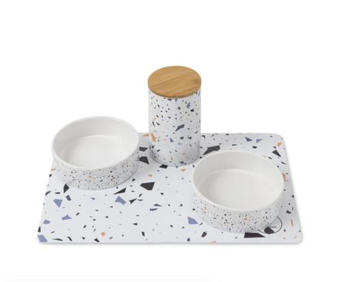Terrazzo Print Pet Bowl Placemet