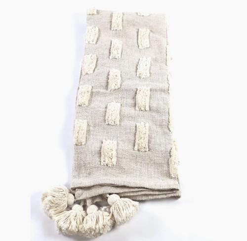 Cream Dashes Handmade Throw Blanket